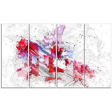 Design Art - Carte sur toile 4 panneaux à l'effigie du drapeau canadien, (PT2746-271)