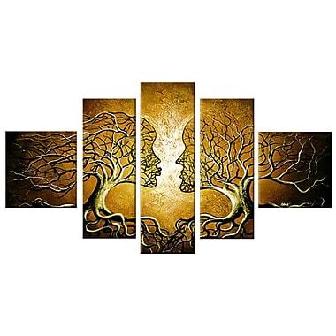 Designart Brown Human Tree, 5 Piece Painting, (OL225)