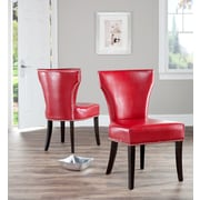 Safavieh Maria Side Chair (Set of 2); Bi-cast Leather - Red