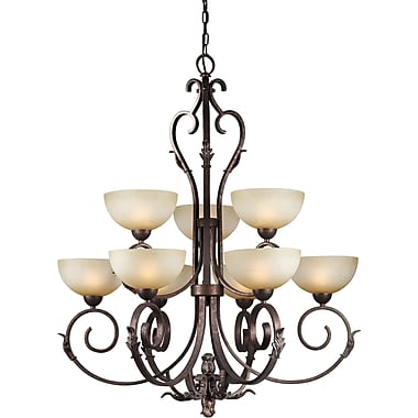 Forte Lighting 9 Light Shaded Chandelier