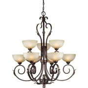 Forte Lighting 9 Light Chandelier with Umber Mist Glass Shades