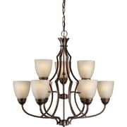 Forte Lighting 9 Light Chandelier with Umber Linen Glass Shade