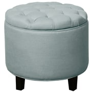 New Pacific Direct Avery Round Tufted Storage Ottoman; Ocean