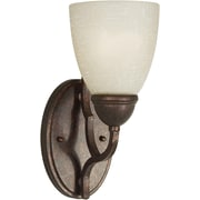Forte Lighting 1-Light Wall Sconce w/ Umber Linen Glass Shade in Black Cherry