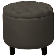 New Pacific Direct Avery Round Tufted Storage Ottoman; Mushroom