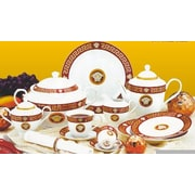 Imperial Gift Co. Greek Key 49 Piece Dinnerware Set; Red