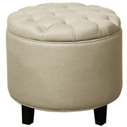 New Pacific Direct Avery Round Tufted Storage Ottoman; Sand