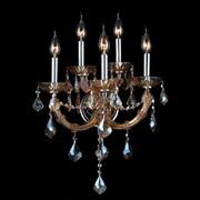 Worldwide Lighting Lyre 5 Light Crystal Wall Sconce; Amber