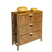 ZEW Hand Crafted Bamboo Wood 3 Drawer Chest