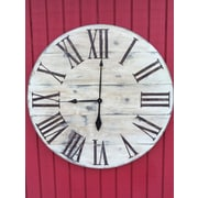essex hand crafted wood products Oversized 34'' Vintage Style Painted Wood Wall Hanging Clock
