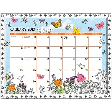 LANG (17991021020) 2017 Cheerful Journey Colouring Desk Pad Calendar