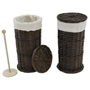 Cathay Importers Willow Toilet Paper Roll Holder with Canvas Lining, Brown
