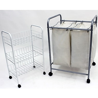 Cathay Importers Double Laundry Sorter with White Wire 3 Tier Storage Trolley