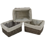 Cathay Importers Willow Rect Storage Baskets With Fabric Lining, Grey