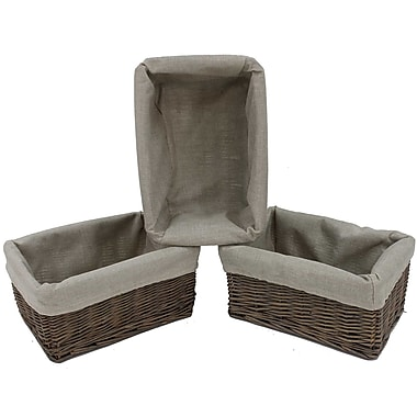 Cathay Importers Willow Rect Storage Basket With Fabric Lining, 12 x 8 x 5.5