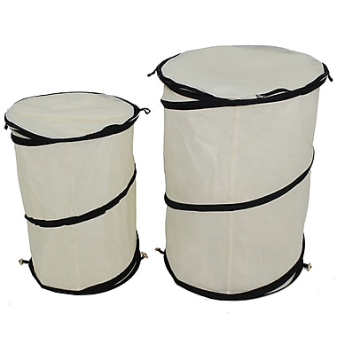 Cathay Importers Fabric Pop Up Hampers, Large and Small, Cream