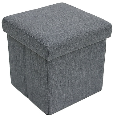 Cathay Importers Linen Folding Storage Ottoman, Grey, 2/Set