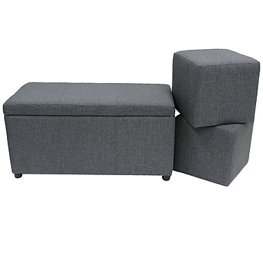 Cathay Importers Linen Ottomans with Trunk, Grey, Set/3