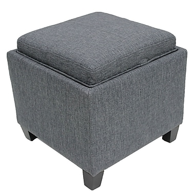 Cathay Importers Linen Ottoman, Grey