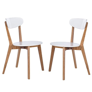 Cathay Importers White Modern Dining Side Chair with Natural American Oak Legs