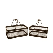 WaldImports 2 Piece Weathered Metal Wire Basket Set (Set of 2); Brown Wash
