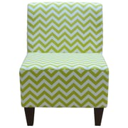 Fox Hill Trading Penelope Armless Chevron Canal Green Slipper Chair