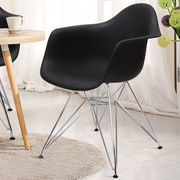 AdecoTrading Dining Arm Chair (Set of 2); Black