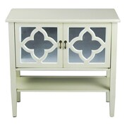 Heather Ann 2 Door Console Cabinet; Beige Finish / White