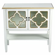 Heather Ann 2 Door Console Cabinet; Antique White/Gold