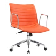 Fine Mod Imports Comfy Mid-Back Leather Office Chair with Arms; Orange