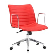 Fine Mod Imports Comfy Mid-Back Leather Office Chair with Arms; Red
