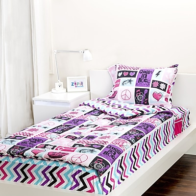 Zipit Bedding Rocker Princess 3 Piece Full Comforter Set WYF078278324863