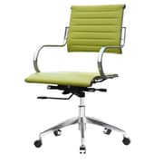 Fine Mod Imports Mid-Back Leather Office Chair with Arms; Green