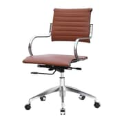 Fine Mod Imports Mid-Back Leather Office Chair with Arms; Light Brown