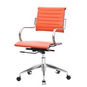 Fine Mod Imports Mid-Back Leather Office Chair with Arms; Orange