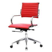 Fine Mod Imports Mid-Back Leather Office Chair with Arms; Red