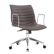 Fine Mod Imports Comfy Mid-Back Leather Office Chair with Arms; Dark Brown