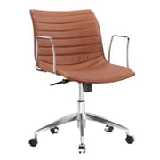 Fine Mod Imports Comfy Mid-Back Leather Office Chair with Arms; Light Brown