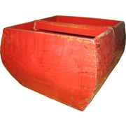 Asian Loft Wood Rice Measurement Box; Red Lacquer