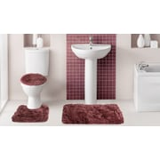 Popular Bath Products Fluff 3 Piece Bath Rug Set; Burgundy