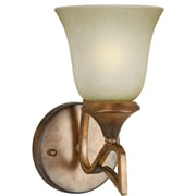 Forte Lighting 1-Light Wall Sconce w/ Umber Mist Glass Shade in Rustic Sienna
