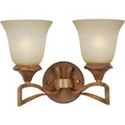 Forte Lighting Two Light Vanity Light with Umber Mist Glass Shade in Rustic Sienna