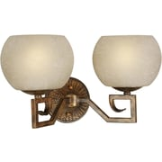 Forte Lighting Two Light Vanity Light with Umber Linen Shade in Rustic Sienna