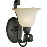 Forte Lighting One Light Wall Sconce with Umber Glass Shade with Umber Shade in Natural Iron