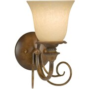 Forte Lighting 1-Light Wall Sconce w/ Tapioca Shade in Rustic Sienna