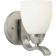 Forte Lighting One Light Wall Sconce w/ Satin Opal Shade in Brushed Nickel