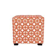 MJLFurniture Merton Gigi Square 4-Button Upholstered Ottoman; Orange/White