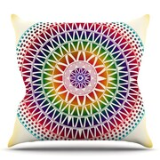 KESS InHouse Colorful Vibrant Mandala by Famenxt Throw Pillow; 18'' H x 18'' W x 3'' D