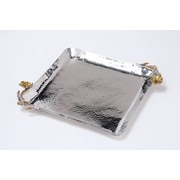 ClassicTouch Tervy Frangipani Hammered Stainless Steel Square Dish