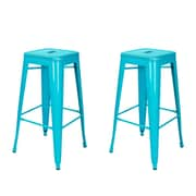 AdecoTrading 30'' Bar Stool (Set of 2); Crystal Blue